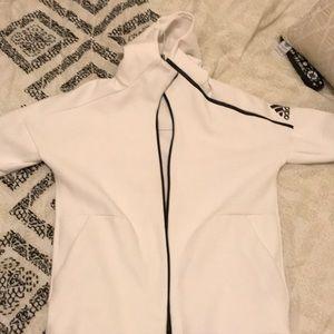 Beautiful white adidas zip up runners hoodie